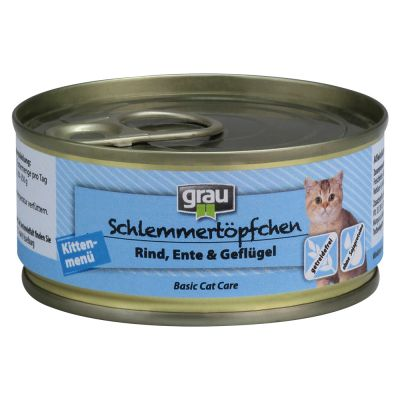 Grau Kitten viljaton: naudanliha ankka & siipikarja – 6 x 200 g