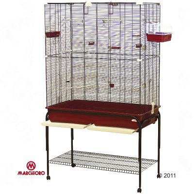 Marchioro Delfi 102 Bird Cage - Burgundy Red:  102 X  54 X 177 Cm (l X W X H) (with Stand)