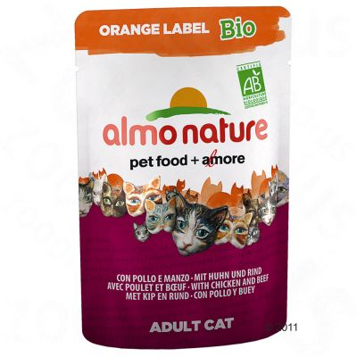Almo Nature Orange Label Bio portionspåsar 6 x 70 g – Nötkött & grönsaker