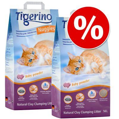 Tigerino Nuggies -säästöpakkaus 2 x 14 l - hieno talkintuoksuinen