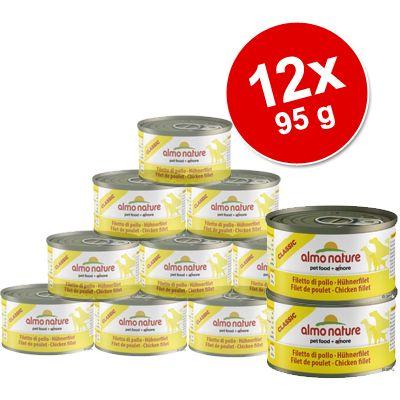 Ekonomipack: 12 x 95 g Almo Nature Classic – Nötkött & skinka