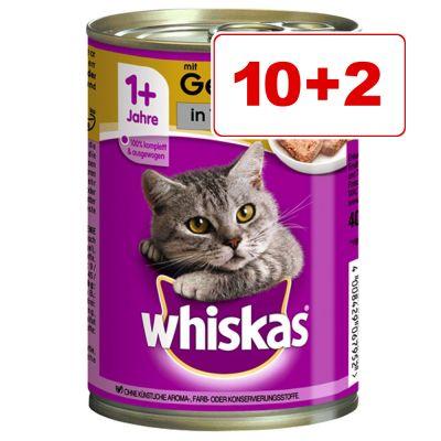 Whiskas 1+ kissanruoka 12 x 400 g: 10 + 2 kaupan päälle! - in Jelly, lohi