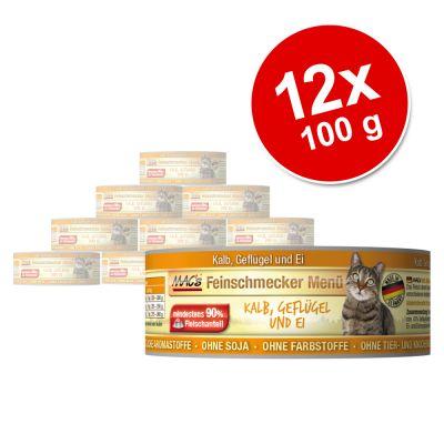 MAC´s Cat Gourmet -säästöpakkaus 12 x 100 g - vasikka & siipikarja