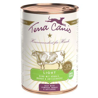 Terra Canis Light 6 x 400 g - riista, kurkku, persikka & voikukka