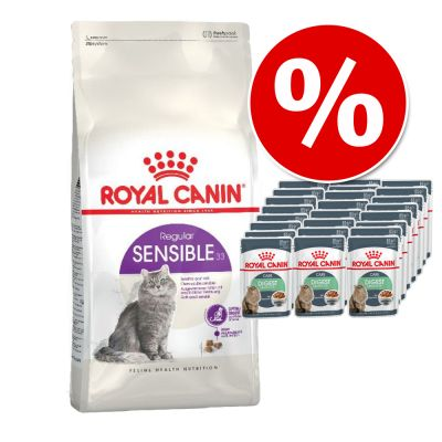 Sekoituspaketti: 4 kg Royal Canin -kuivaruokaa + 24 x 85 g Royal Canin in Gravy - Kitten Sterilised + Kitten Instinctive