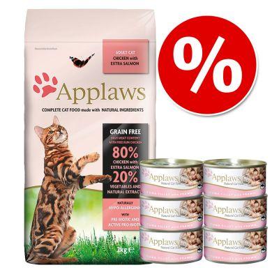 Applaws-yhteispakkaus: kuiva- ja märkäruoka säästöhintaan! - 2 kg Adult Chicken & Duck + 6 x 70 g kana & ankka