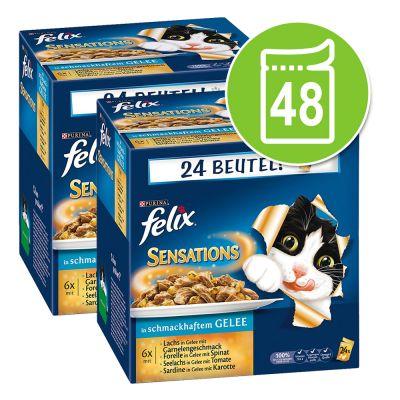 48 x 100 g Felix Sensations in Gelei Kattenvoer Vleesvariatie Voordeelpakket
