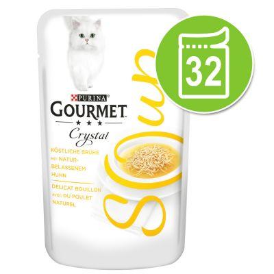 32 x 40 g Megapak Gourmet Soup Kattenvoer - Kip & Groenten