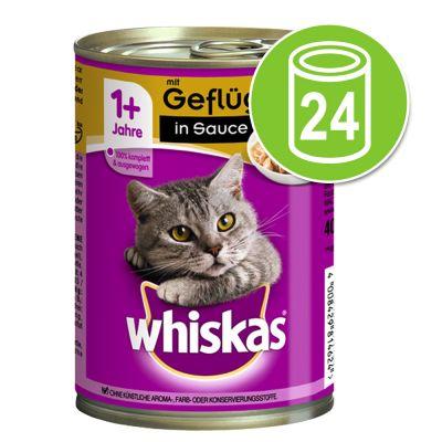 Whiskas 1+ -purkkiruoka 24 x 400 g - 1+ in Sauce, nauta & maksa