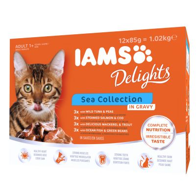 IAMS Delights Adult in Sauce – 24 x 85 g Land & Sea Mix in Sauce