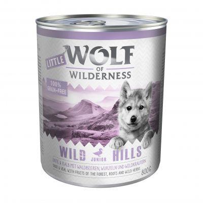 Little Wolf of Wilderness 6 x 800 g - Wild Hills Junior - ankka & vasikka