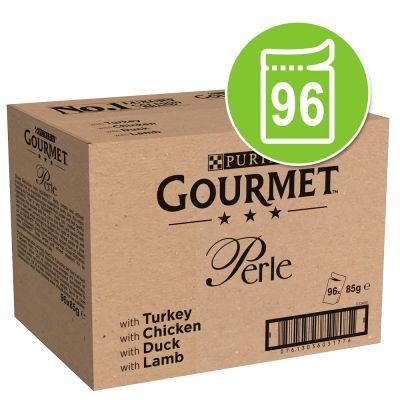 Gourmet Perle 96 x 85 g - lohi & katkaravut, punakampela & katkaravut, kala & tonnikala, tonnikala
