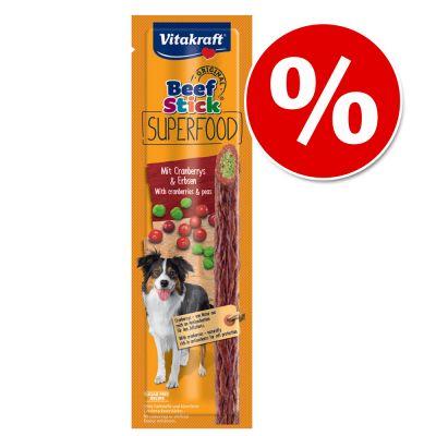 Vitakraft Beef Stick Superfood -säästöpakkaus 45 x 25 g - chia & porkkana