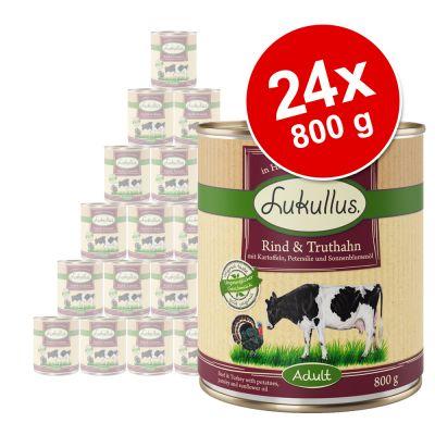 Lukullus-säästöpakkaus 24 x 800 g - mix: villikani, kalkkuna, nauta, peura