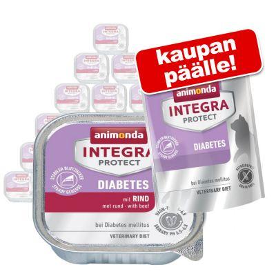 Integra Protect kissanruoka 24 x 100 g + 300 g kuivaruokaa kaupan päälle! - Adult Diabetes - nauta