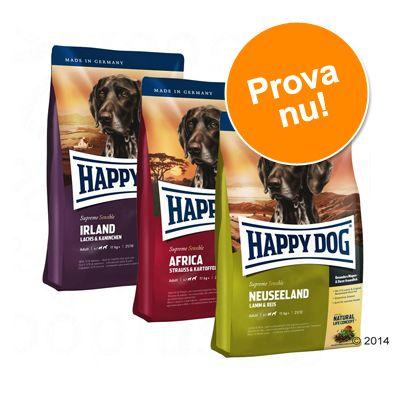 Provpack: Happy Dog Culinary World Tour, 3 x 4 kg - Toscana, New Zealand, Ireland