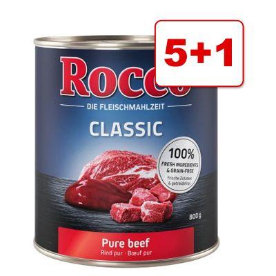 Rocco Classic -koiranruoka 6 x 800 g: 5 + 1 kaupan päälle! – naudanliha ja kana