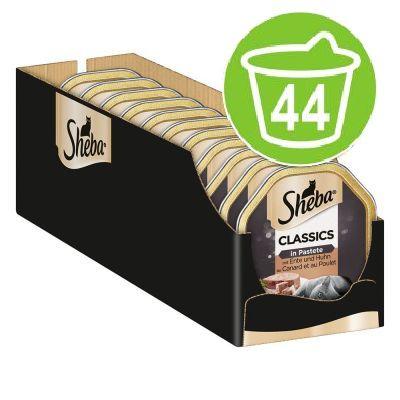 Ekonomipack: 44 x 85 g Sheba portionsform - Classics Paté Anka & kyckling