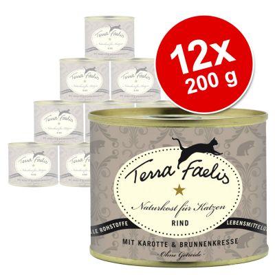 Ekonomipack Terra Faelis köttmeny 12 x 200 g – Nötkött, morötter & krasse