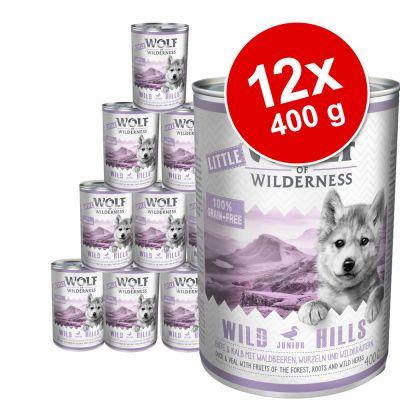Little Wolf of Wilderness -säästöpakkaus 12 x 400 g - Wild Hills Junior - ankka & vasikka