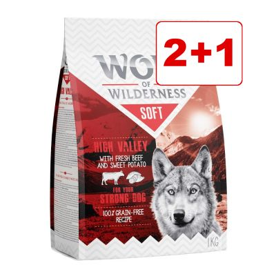 "3 x 1 kg Wolf of Wilderness ""Soft & Strong"": 2 + 1 kaupan päälle! – High Valley – nauta"