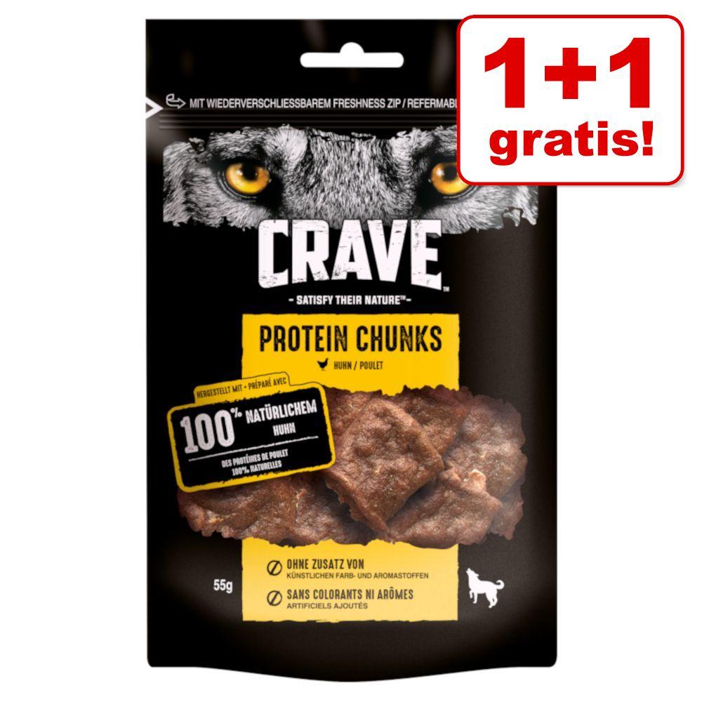1 + 1 på köpet! 2 x Crave Protein hundgodis - Chunks Salmon (2 x 55 g)
