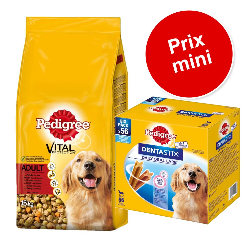 15kg Junior poulet, riz Pedigree + 56 friandises Maxi Dentastix Daily Oral Care Pedigree pour chiot