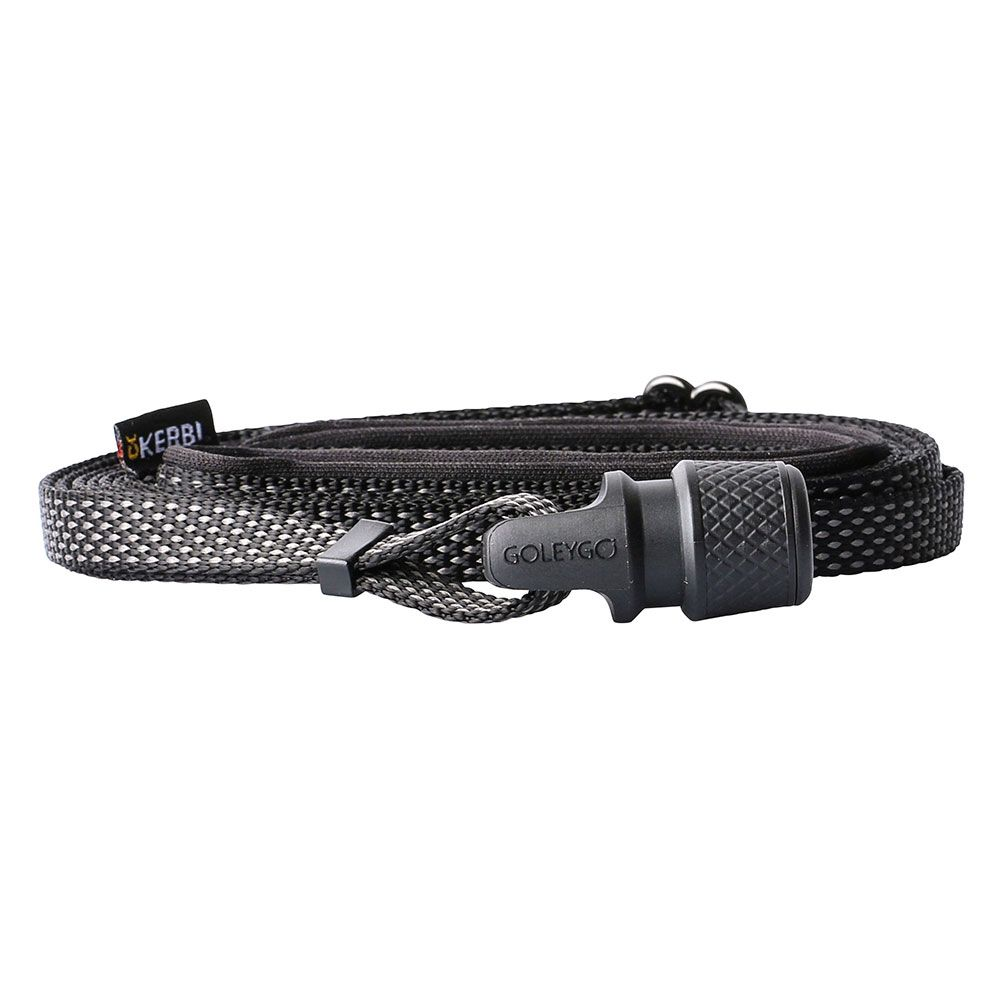 GOLEYGO Flat Dog Lead Black - by Kerbl Size M: 140 - 200cm long, 20mm wide