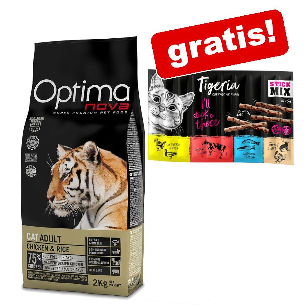 8 kg Optimanova Adult torrfoder + 10 x 5 g Tigeria Sticks Mix på köpet! - Adult Sterilised
