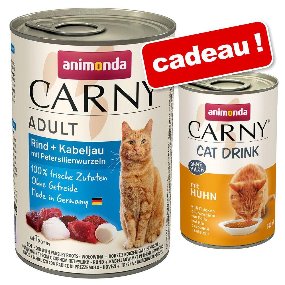 24x400g cocktail de viandes Carny Animonda + 140mL Cat Drink Carny Animonda Boisson offerte !