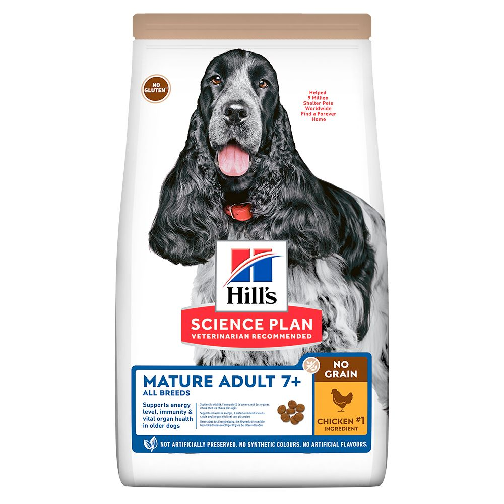 Hill's Mature Adult 7+ No Grain Science Plan con pollo - 2 x 14 kg - Pack Ahorro