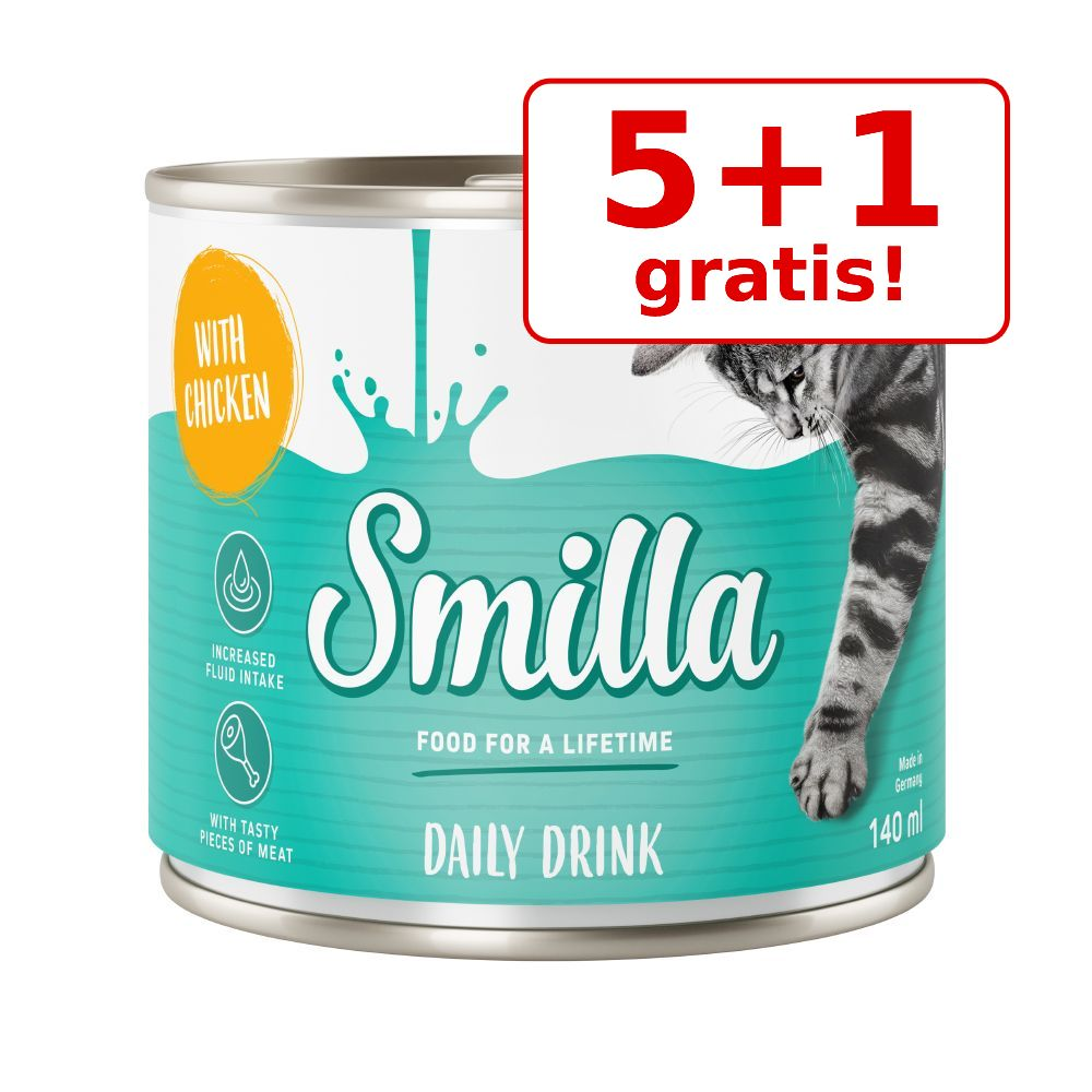 5 + 1 gratis! 6 x 140 ml Smilla kattedrik - Tun