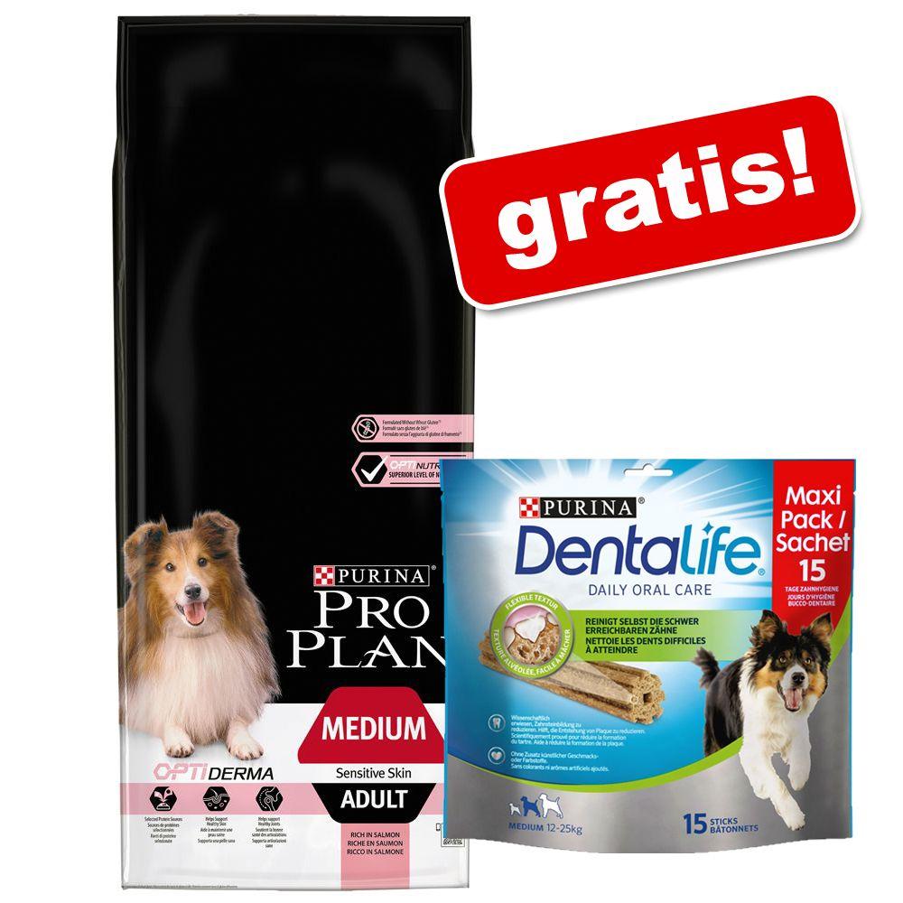 Stor påse Pro Plan + Purina Dentalife Snacks på köpet! Medium Adult Lamb & Rice OPTIDIGEST 14 kg