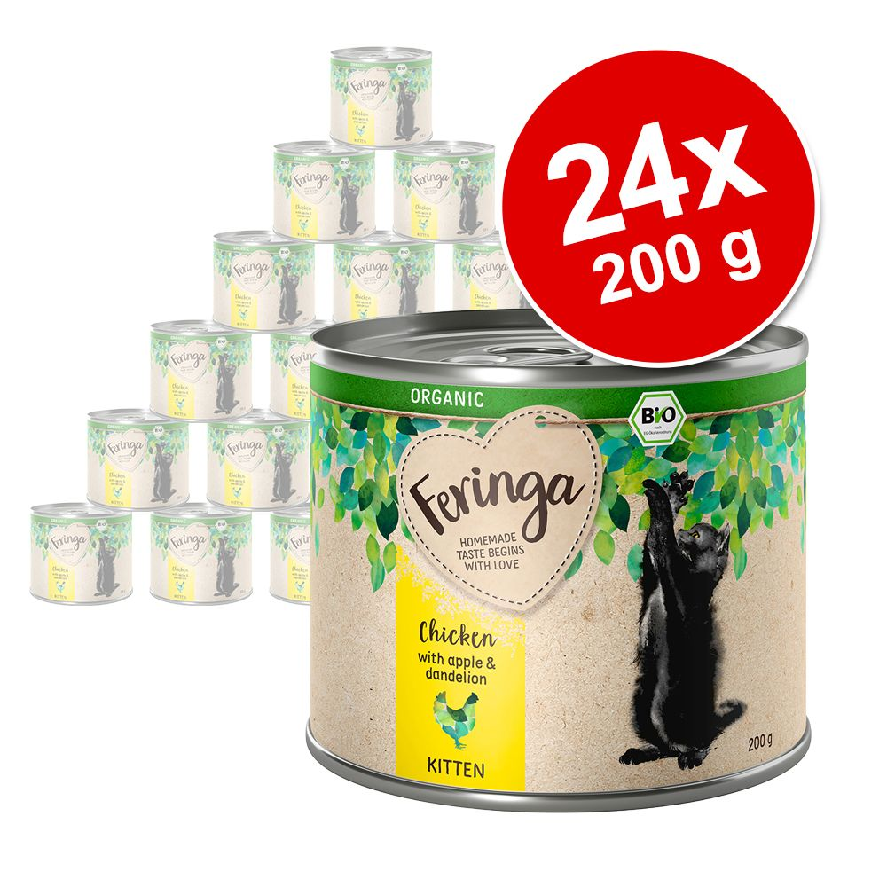 Ekonomipack: Feringa Organic Kitten 24 x 200 g - Blandpack (2 sorter)