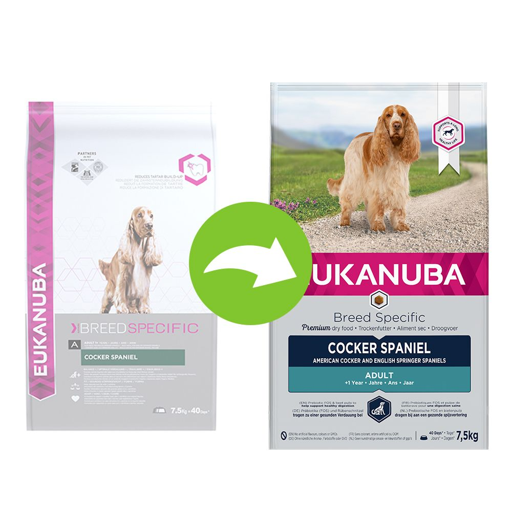 Eukanuba Adult Breed Specific Cocker Spaniel - Sparpaket: 2 x 7,5 kg