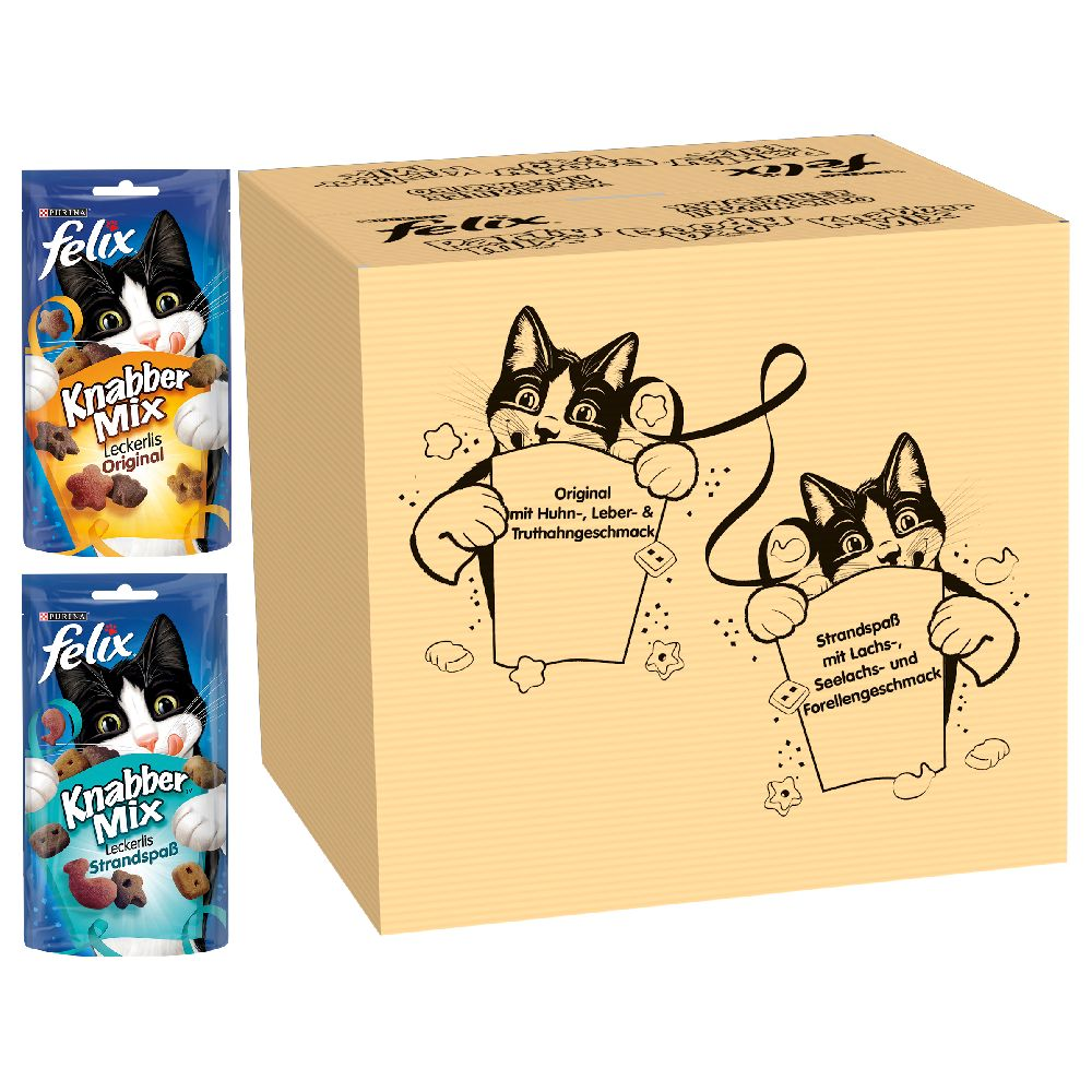 Felix Party Mix Friandises pour chat - Party Mix Original et Party Mix Saveur de l'Océan (16 x 60 g)