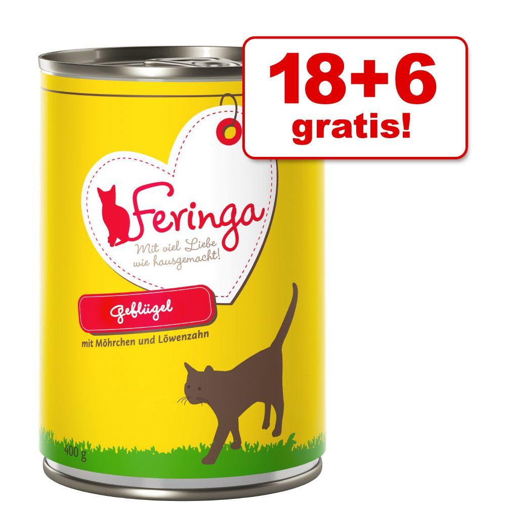 18 + 6 på köpet! 24 x 400 g Feringa Menu Duo - Vilt med lingon & maskros