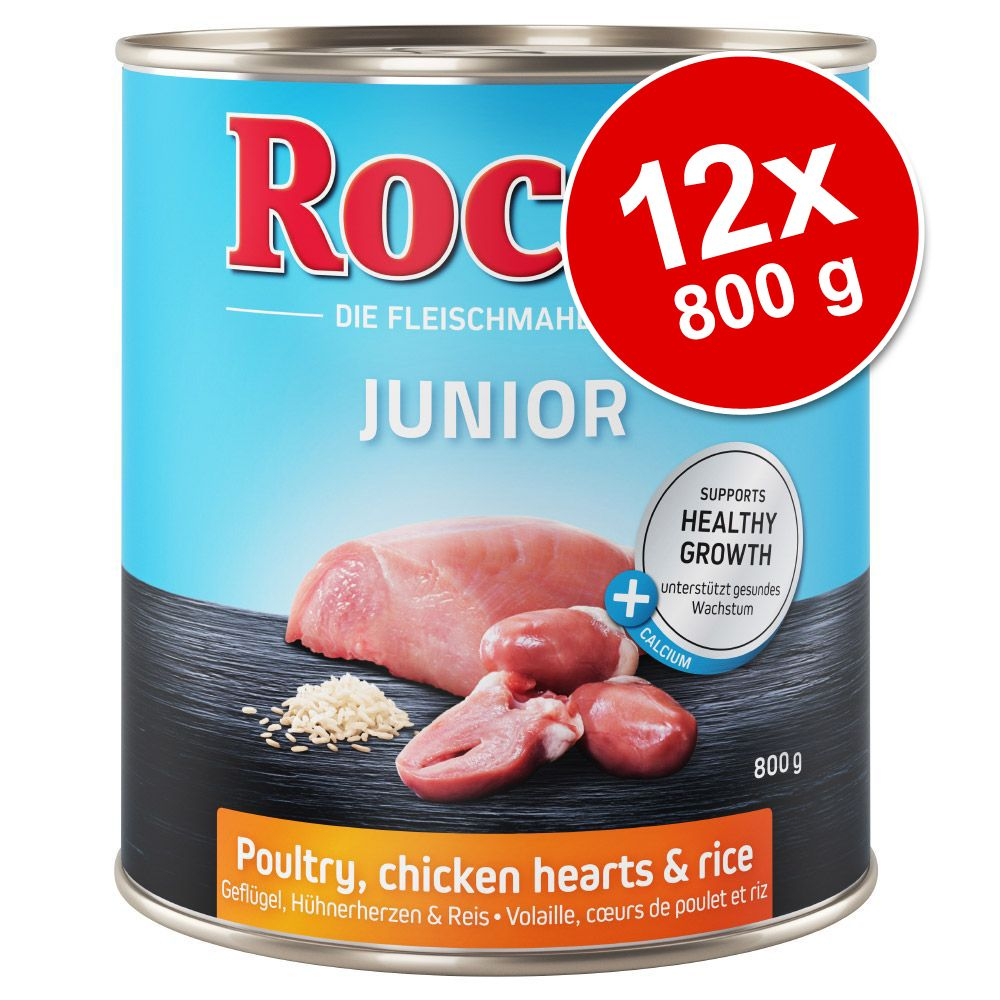 Rocco Junior 12 x 800 g - Fjäderfä, kycklinghjärta & ris