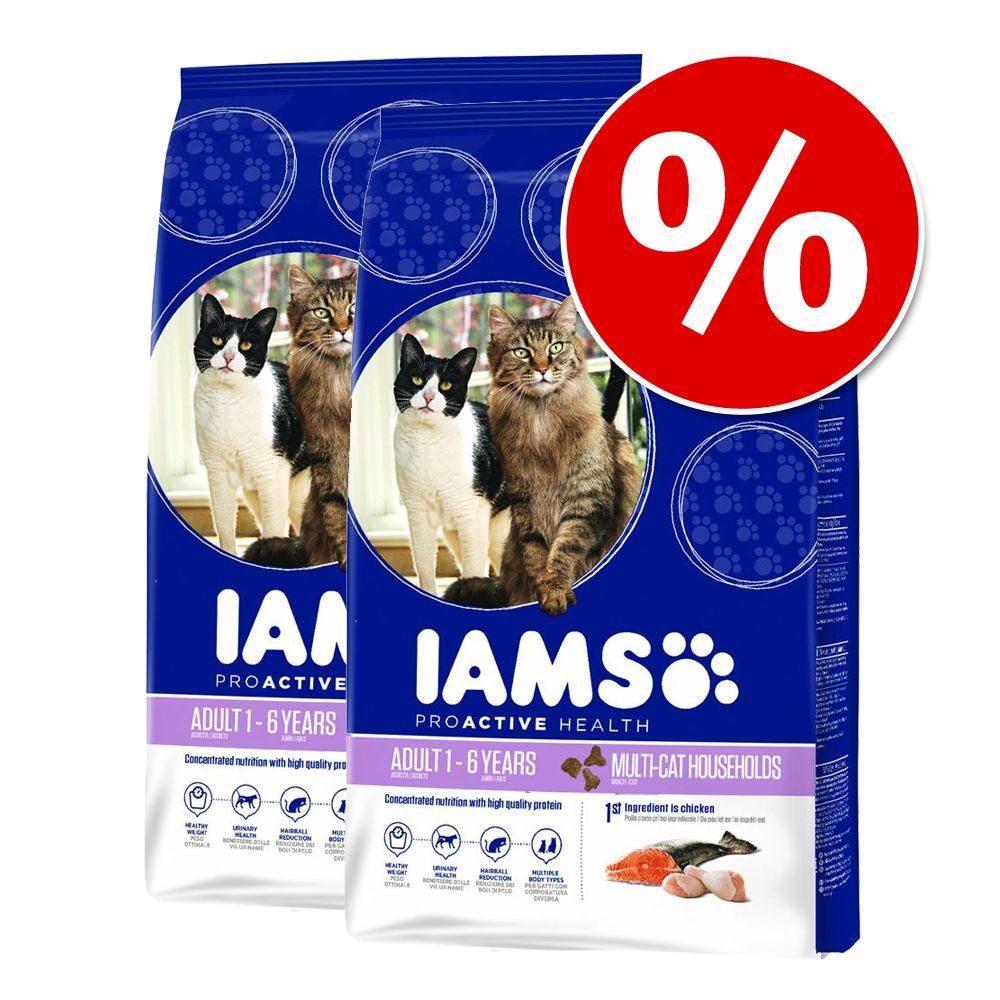 Ekonomipack: 2 x 10/15 kg Iams torrfoder för katter till lågpris – Pro Active Health Adult Hairball Control (2 x 10 kg)