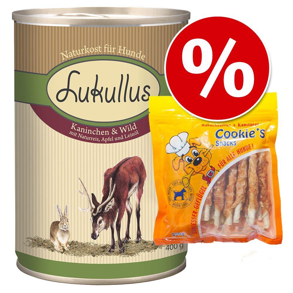 Vorzugspaket Lukullus Nassnahrung 6 x 400 g + Cookie´s 200 g - Putenherzen & Gans