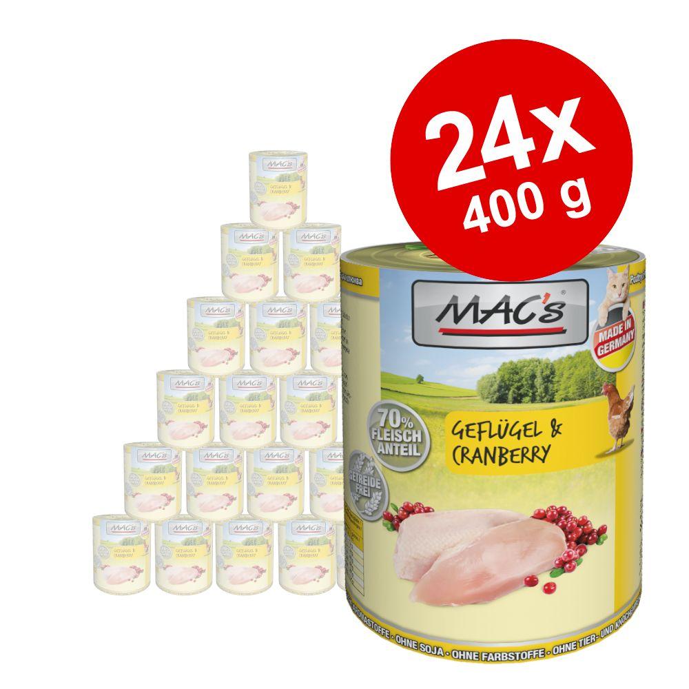 Ekonomipack: MAC's Cat kattfoder 24 x 400 g - Anka, kalkon, kyckling