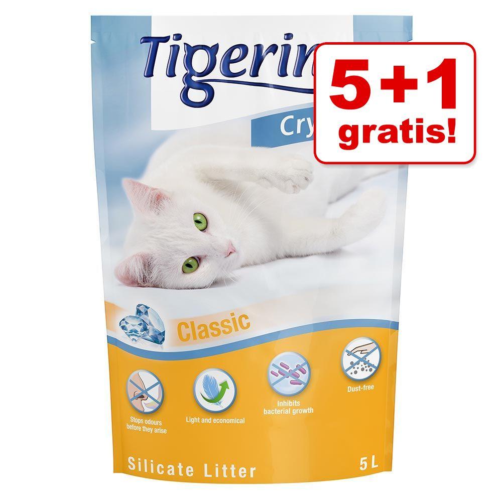 5 + 1 gratis! 6 x 5 l Tigerino Crystals - 4 verschiedene Sorten (Classic