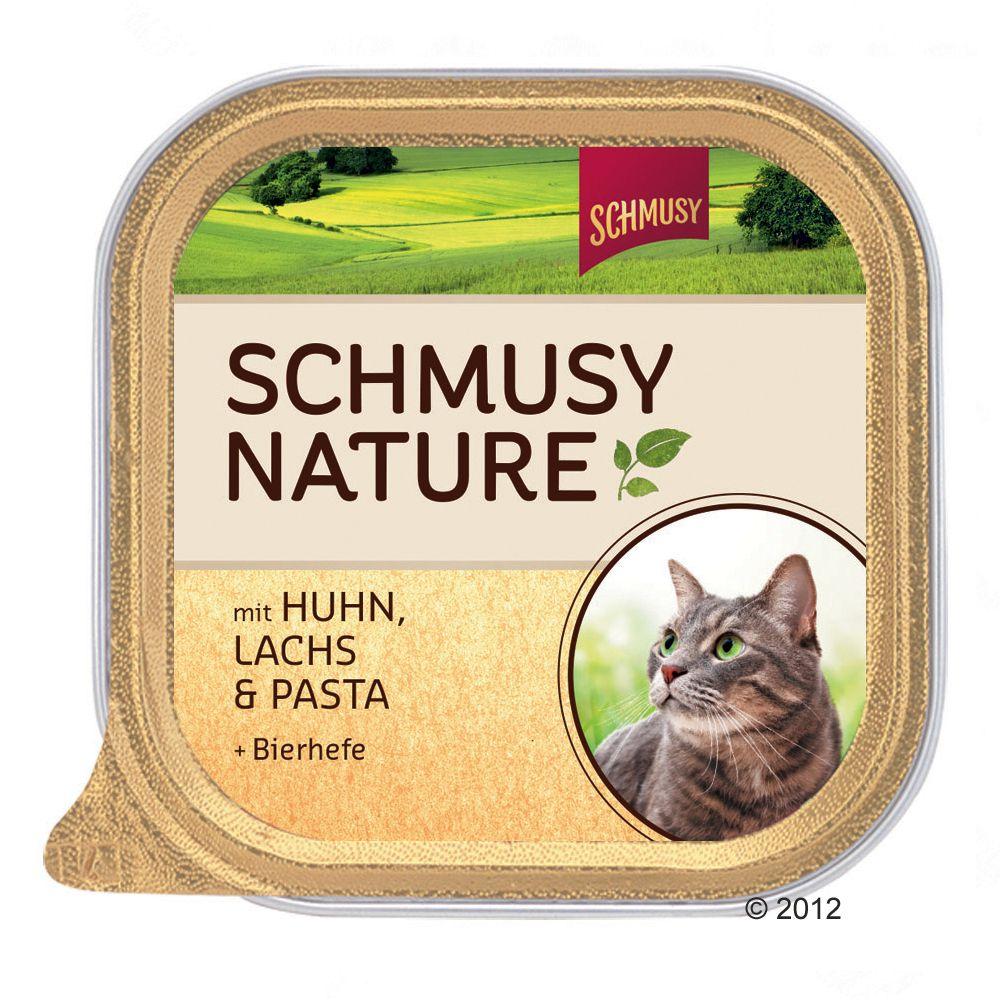 Schmusy Nature w miseczkach, 12 x 100 g - Indyk, królik, ryż i siemię lniane