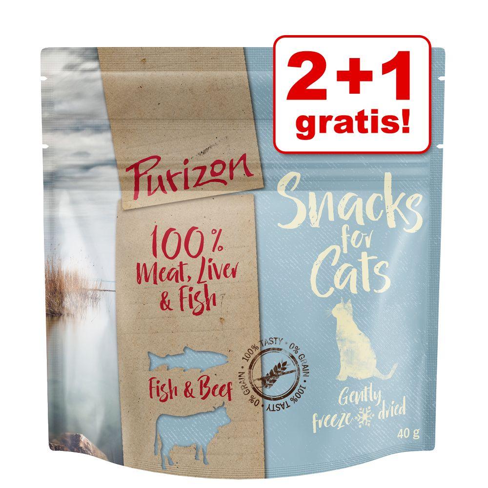 2 + 1 på köpet! 3 x 40 g Purizon Snacks kattgodis - Fisk & nötkött