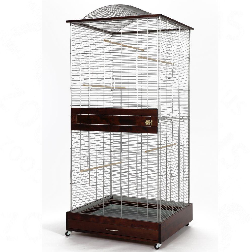 Vogelvoliere Loretto XL - wenge: L 78 x B 75 x H 175 cm