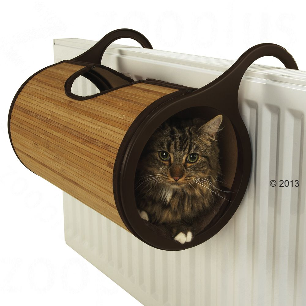 Jolly Moggy Cat Radiator Bed - Brown Bamboo - Diameter 26 x L 47 cm