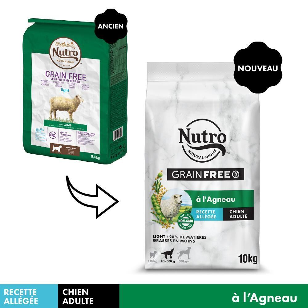 10kg Nutro Grain Free Adult Light agneau - Croquettes pour chien