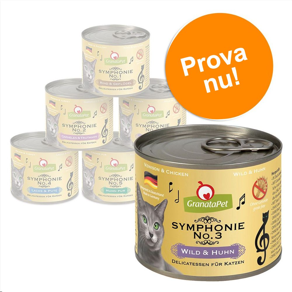 Provpack: GranataPet Symphonie 6 x 200 g - Blandpack: 6 sorter