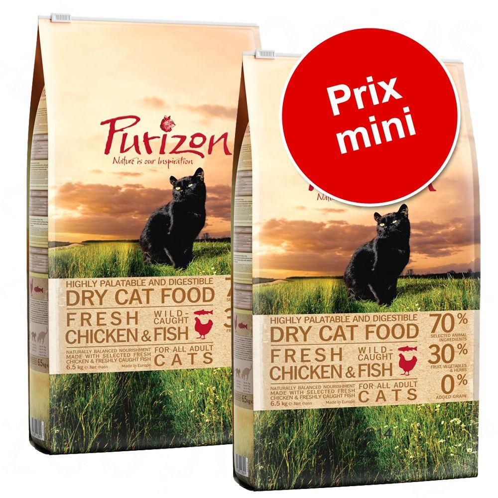 2x6,5kg Adult, poulet, poisson sans céréales Purizon - Croquette pour chat