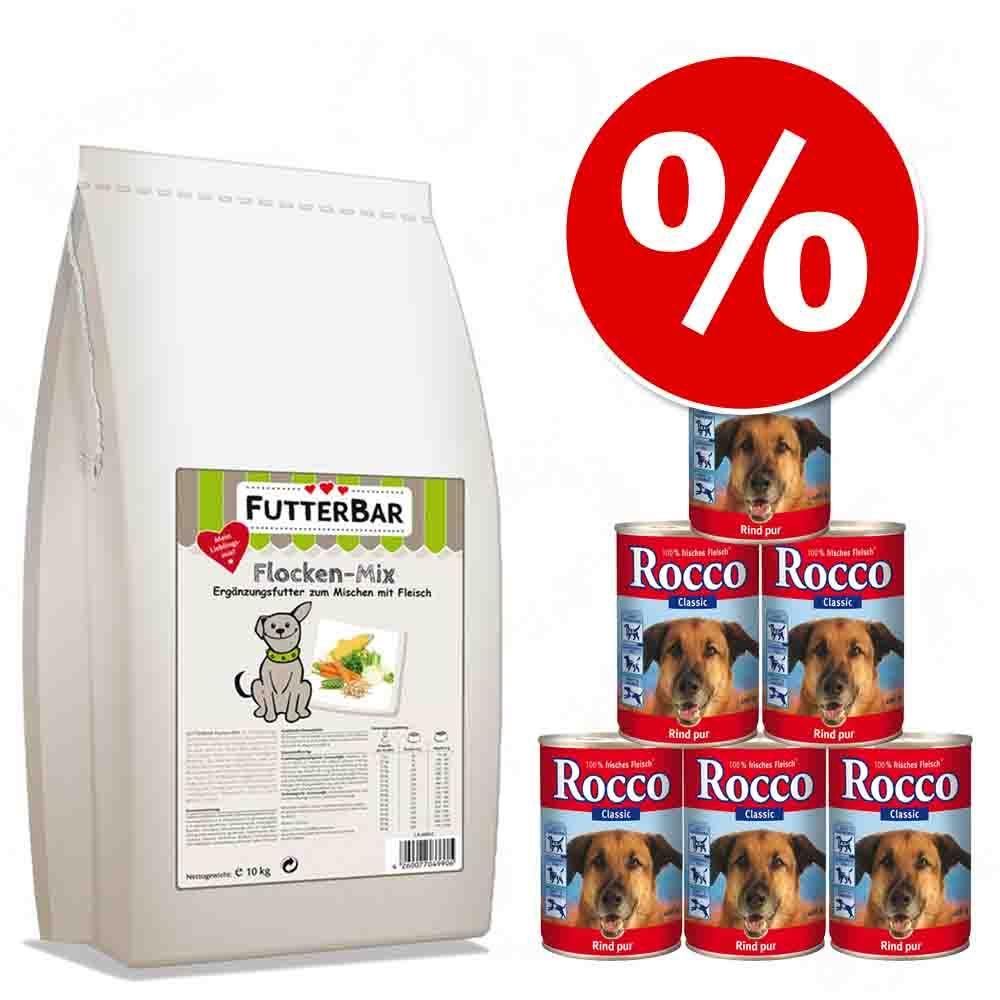 10 kg FutterBar mieszanka płatków + 6 x Rocco Classic w super cenie! - 10 kg + Czysta wołowina, 6 x 800 g